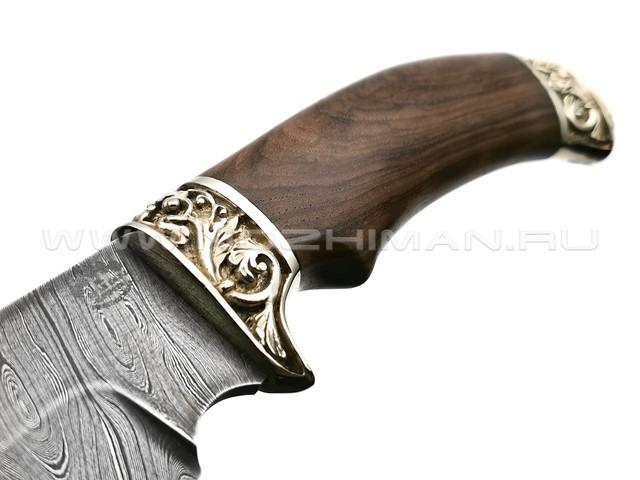"""Нож """"Бобёр"""" дамасская сталь, рукоять дерево орех, мельхиор (Товарищество Завьялова)"""