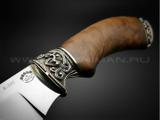 "Нож ""Акула"" сталь K340, рукоять дерево орех, мельхиор (Товарищество Завьялова)"